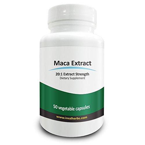 Real hierbas raíz de Maca extracto PE 20 - 1 equivalente a 15.000 Mg de Maca pura-750 mg X 50 Vcaps