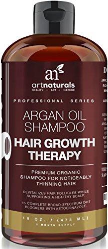 Arte productos naturales aceite de Argan orgánico Champú Keratina para el cabello rebrote 16 Oz - sulfato libre - mejor tratamiento para la pérdida de cabello, adelgazamiento y envejecimiento - productos para hombres y mujeres - con biotina-3 mes fuente