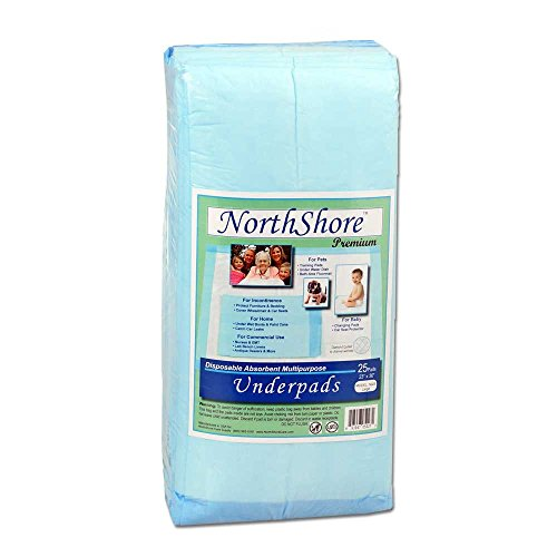 NorthShore Premium azul sabanas desechables (Chux), gran tamaño 23 x 36, Pk/25