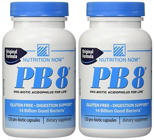 Nutrición ahora - PB 8 Pro-bióticos Acidophilus - 120 cápsulas (paquete de 2)