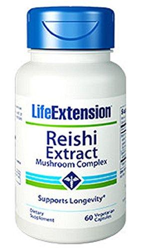 Vida extensión Extracto de Reishi, hongo complejo, cápsulas vegetarianas, cuenta 60