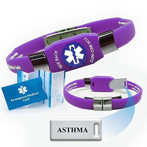 """Placa de acrílico previamente grabado """"Asma"""" identificación de alerta médica Elite pulsera - púrpura. Elegir entre Diabetes, diluyente de la sangre, convulsiones, asma, marcapasos, alergias más..."""