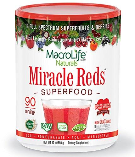 Milagro rojos súper - súper rojo polvo - Non Allergenic fruta propietario mezcla - Anti envejecimiento Anti oxidantes - polifenoles y corazón amable planta esteroles - Delicious & Nutritous - no GMO - vegano - Gluten y sin lactosa - Berry sabor - porc