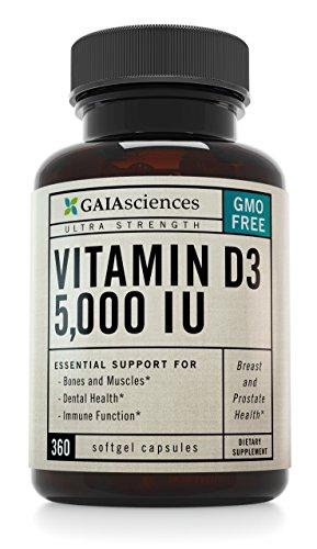 Gaia Ciencias vitamina D3 5.000 UI en frío aceite de oliva ecológico, cápsulas de OGM, de alta potencia, ct 360.