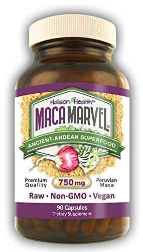 Cápsulas de raíz de Maca Orgánica 750 mg 90 polvo crudo pastillas, hombres mujeres, equilibrio Hormonal, la menopausia, menstruación, Vegano, no-GMO, Maca Marvel Halison salud