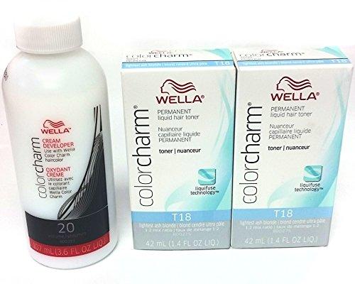 Wella Color Charm T18 ligero ceniza rubia 2-Pack con CC crema 20 desarrolladores onza 3,6 - COMBO tratar!