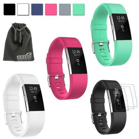 EEEKit 4in1Kit de Fitbit Carga 2, 3 piezas de silicona de reemplazo de la correa de accesorios Sport Wrist Band + 3 piezas Protector de pantalla