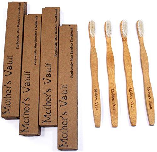 Cerdas del cepillo de bambú biodegradable, respetuoso del medio ambiente con Nylon suave libre de Bpa - Cuidado Dental Natural para hombres y mujeres (4 cepillos de dientes)