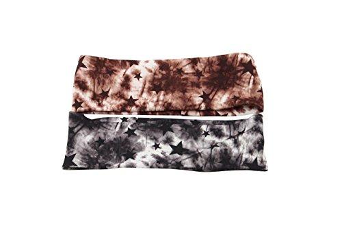 Tie Dye talento bohemio elástico turbante Headwrap todo venda fijada para las muchachas mujeres adultas jóvenes (negro marrón)