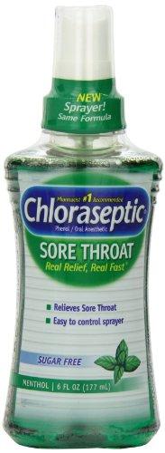 Spray para la garganta dolorida de Chloraseptic, mentol, 6 onzas (177 ml) (Pack de 3)