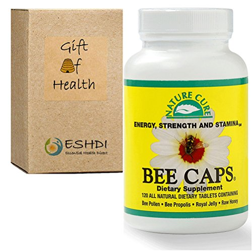 ESHDI naturaleza cura Bee Caps: Polen, propóleos, jalea real y miel cruda en 1 Caplet Ct 120 botellas. Suplemento natural. Salud de la colmena