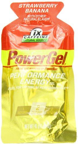 PowerBar PowerGel, fresa plátano, 1 x cafeína, 1,44 onzas paquetes (paquete de 24)