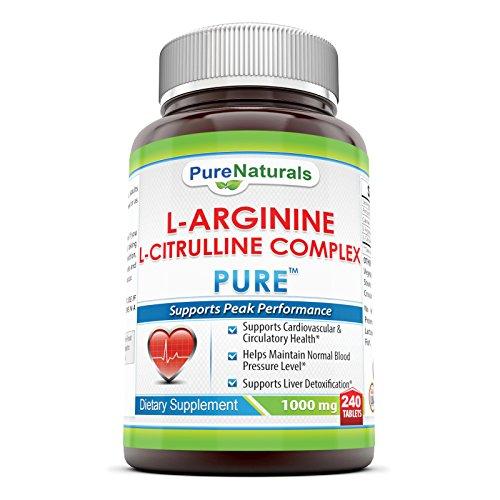 Productos naturales pura L-arginina L-citrulina complejo - 1000mg, 240 tabletas-soporta máximo rendimiento *-soporta proteína metabolismo *-ayuda a mantener tejido muscular *-apoya el corazón y la salud circulatoria *