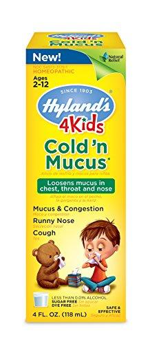 De Hyland's fría de 4 niños y alivio de congestión de moco líquido, sabor Natural y alivio frío Natural, 4 onzas