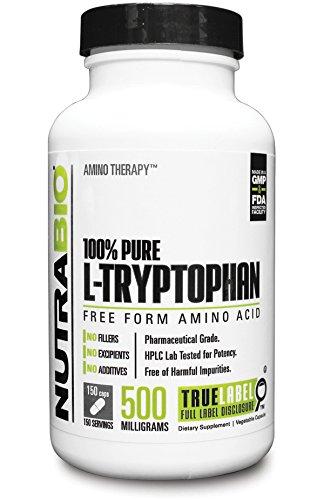 NutraBio 100% puro L-triptófano 500 mg - 150 Cápsulas vegetales