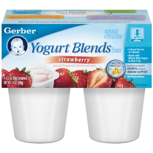 Mezclas de Gerber Yogurt, fresa, 4 números, 3,5 onzas tazas (paquete de 6)