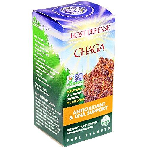 Host Defense® Chaga cápsulas, antioxidante y ADN apoyo, cuenta 60 (FFP)