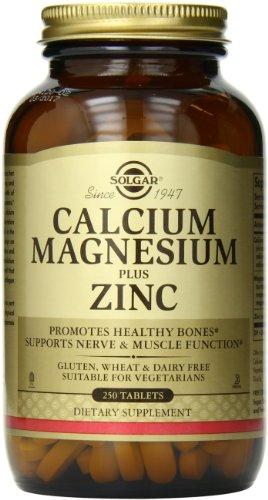 Solgar calcio magnesio Plus Zinc tabletas, 250 cuenta