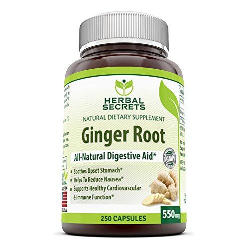 Secretos de hierbas raíz de jengibre 550mg 250 cápsulas-alivia malestar estomacal *-ayuda a reducir la náusea * - soporta saludable función inmune y Cardiovascular *
