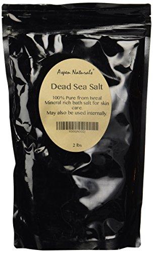 Sal del mar muerto (2 libras/32 Oz) por los productos naturales Aspen - a granel - 100% puro, alimenticia, de grano fino y auténtico de Israel - uso para la fabricación de jabón, loción, peelings corporales, mascarillas faciales, baños y mucho más - desha