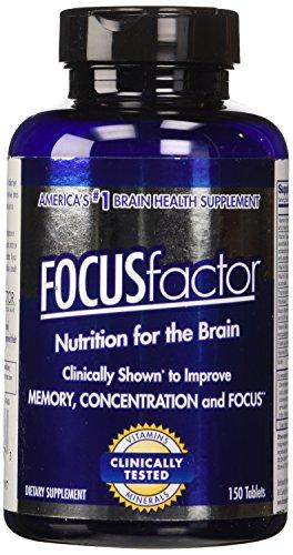 FOCUSfactor dietéticos suplemento 150 tabletas, suplemento de cerebro #1 venta de Estados Unidos, apoya y mantiene la memoria, concentración y enfoque.