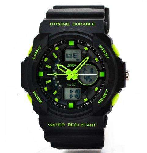 Multifunción S-descarga Cool deportes reloj mujeres Fanmis hombres LED Analógico Digital alarma resistente al agua - verde