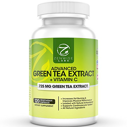 Suplemento de extracto de té verde - pastillas vegetarianas descafeinados para peso pérdida - quemador de grasa Natural con vitamina C - 725 mg cápsulas - 120 VCaps - regula el colesterol y el sistema inmune