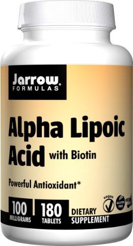Jarrow Formulas de ácido alfa lipoico, compatible con energía, visión, hígado, Salud Cardiovascular, 100 mg, 180 fichas de fácil-Solv