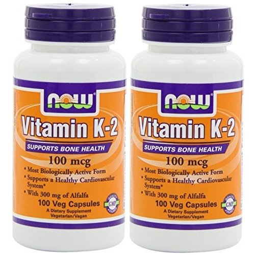 AHORA alimentos vitamina K-2, 100 microgramos, 100 caps (paquete de 2)