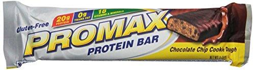 PROMAX barra de proteína, masa de galletas de chispas de Chocolate, paquete de 12