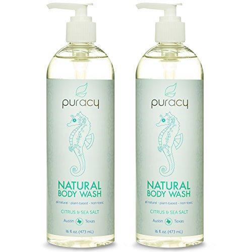 Lavado de cuerpo Natural 100% puracy - Sulfate-Free - el mejor Gel de ducha - clínicamente Superior ingredientes - desarrollado por médicos para hombres y mujeres - sal de mar y aceites esenciales cítricos - Spa-grado - 16 onzas (paquete de 2)