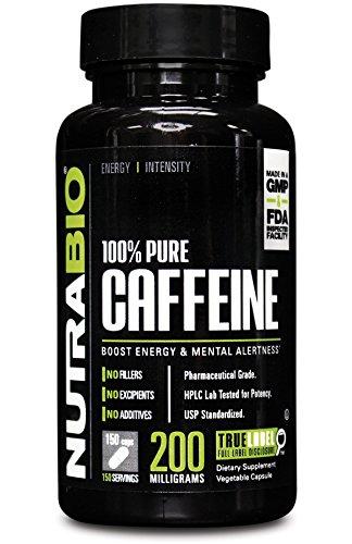NutraBio 100% pura cafeína 200 mg - 150 Cápsulas vegetales
