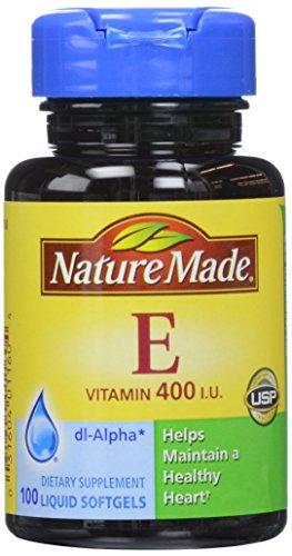 Naturaleza vitamina E 400 UI cápsulas, 100 hojas