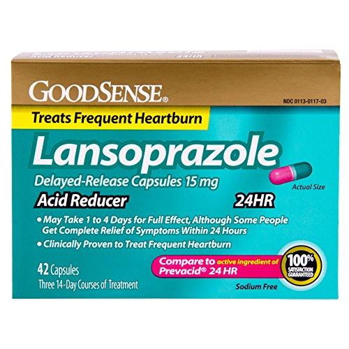 GoodSense ácido reductor, lansoprazol cápsulas de liberación lenta, 15 mg, 42 cuenta retrasada