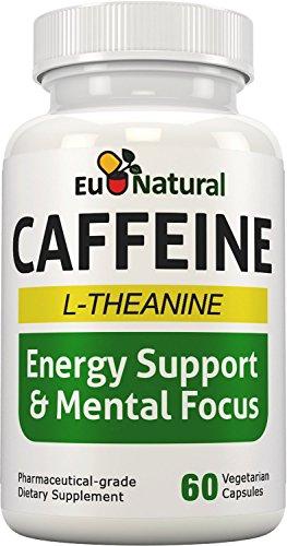 L-teanina, 60 cápsulas vegetarianas de grado farmacéutico (variación libre de duración enfocado a energía) de las píldoras de cafeína