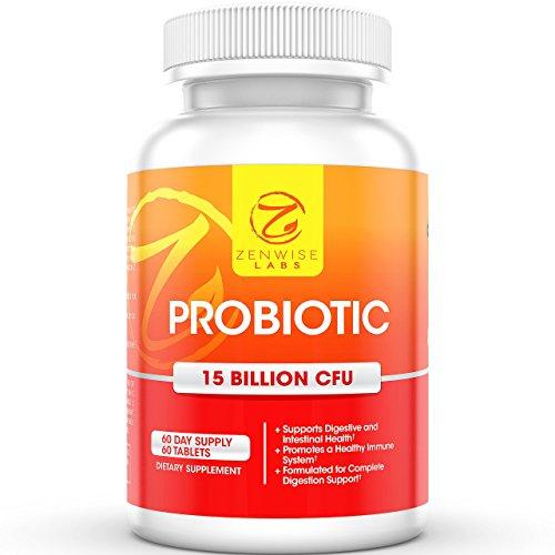 Probiótico - todos suplemento Natural para hombres, mujeres y niños - 10 cepas y 15 billones de CFU - 60 pastillas vegetarianas - mejorar estado de ánimo, aliviar los trastornos digestivos y promover la pérdida de peso - laboratorios Zenwise