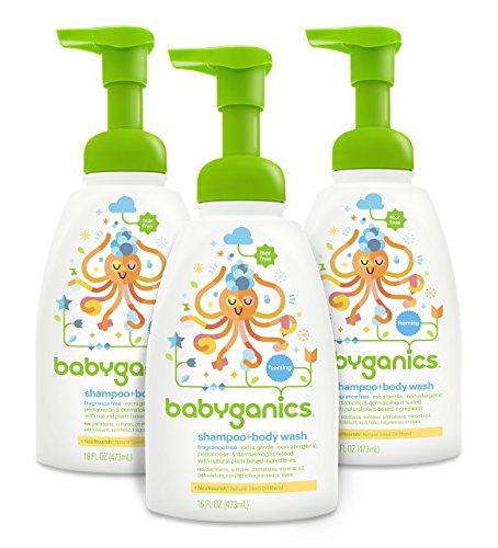 Champú para bebé Babyganics y colada del cuerpo, fragancias gratis, paquete de 3