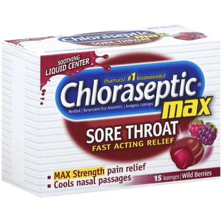 Chloraseptic Fuerza Max Dolor de pastillas para la garganta bayas silvestres 15 ea (Pack de 3)