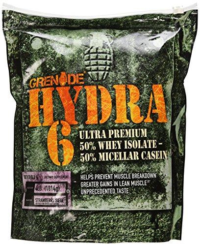 Hydra de Granada 6, aislado de suero de 50% y 50% caseína. Primer Ultra Premium mezcla de proteína de lentos y rápidos el mundo, asedio fresa, 4 libras