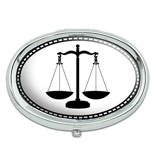 Escalas de justicia Metal ovalada pastillero caso