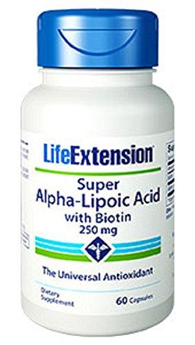 Extensión de vida Super alfa lipoico con biotina 250 Mg cápsulas, 60-Conde