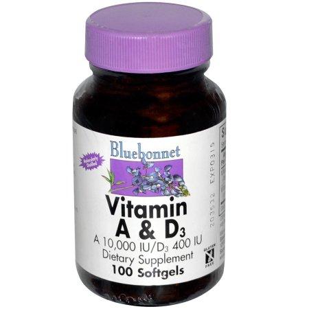 Bluebonnet - vitamina A y D3 10.000 / 400 UI 100 pastillas