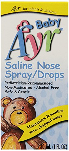 Bebé Ayr salina Spray/gotas nasales, botellas del aerosol de 1 onza (paquete de 6)