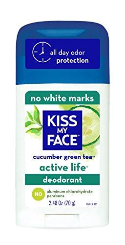 Beso mi cara vida activa Desodorante Natural, té verde de pepino, onza 2,48