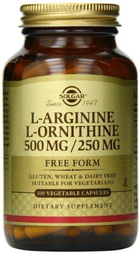 Cápsulas vegetales Solgar L-arginina/L-ornitina, 500/250 mg, 100 cuenta