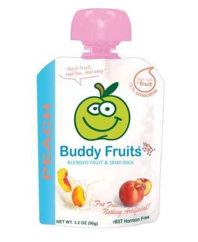 Amigo frutas mezclan de frutas y leche descremada, duraznos, 3.2 onzas (paquete de 18)