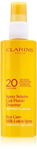 Clarins moderada protección UVB/UVA 20 solar leche loción Spray, 5,3 onzas