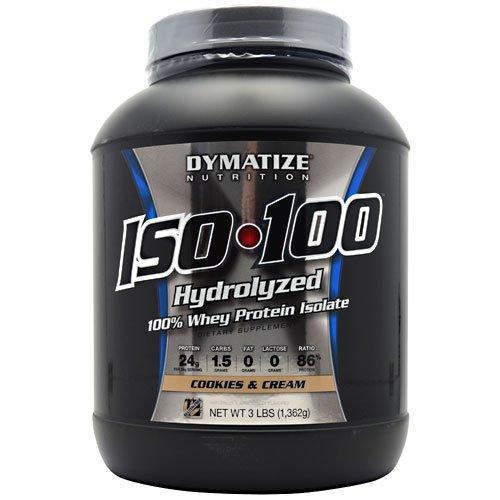 Aislar de proteína de suero 100% hidrolizada Dymatize ISO-100 - galletas y la crema 3 libras