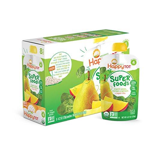 Los alimentos orgánicos Super feliz Tot, peras, Mangos y espinacas + Super Chia, bolsas de 4,22 onzas (Pack 16)
