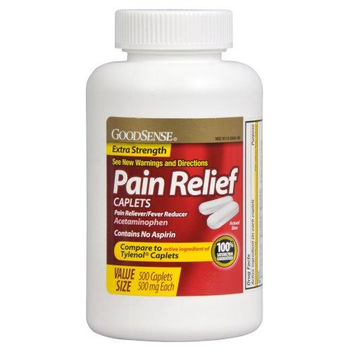 GoodSense acetaminofén Extra Strength, cápsulas de reductor de fiebre, para aliviar el dolor, 500 mg, cuenta 500